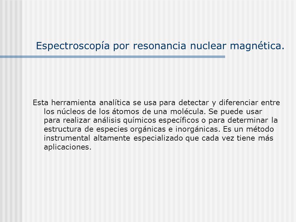 Espectroscopía por resonancia nuclear magnética. Esta herramienta analítica se usa para detectar y diferenciar entre los núcleos de los átomos de una