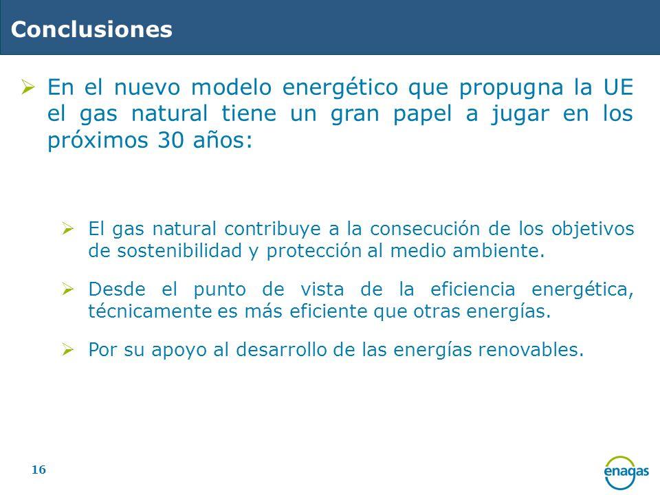16 Conclusiones En el nuevo modelo energético que propugna la UE el gas natural tiene un gran papel a jugar en los próximos 30 años: El gas natural co