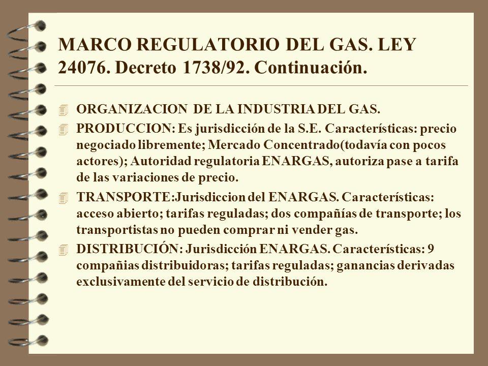MARCO REGULATORIO DEL GAS. LEY 24076. Decreto 1738/92. Continuación. 4 ORGANIZACION DE LA INDUSTRIA DEL GAS. 4 PRODUCCION: Es jurisdicción de la S.E.