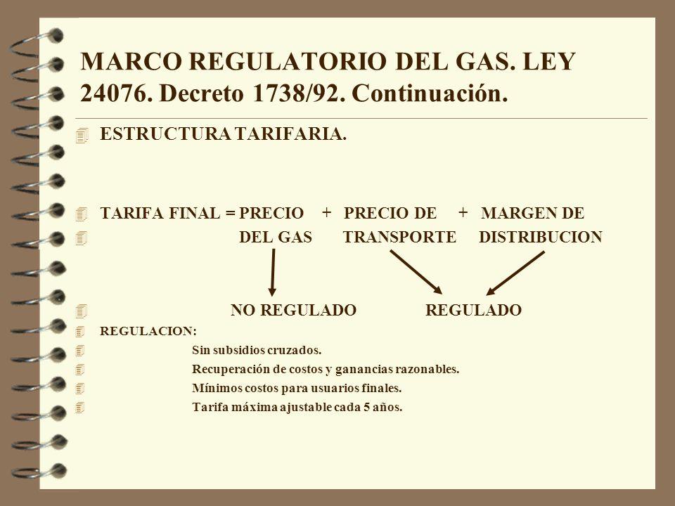 MARCO REGULATORIO DEL GAS. LEY 24076. Decreto 1738/92. Continuación. 4 ESTRUCTURA TARIFARIA. 4 TARIFA FINAL = PRECIO + PRECIO DE + MARGEN DE 4 DEL GAS