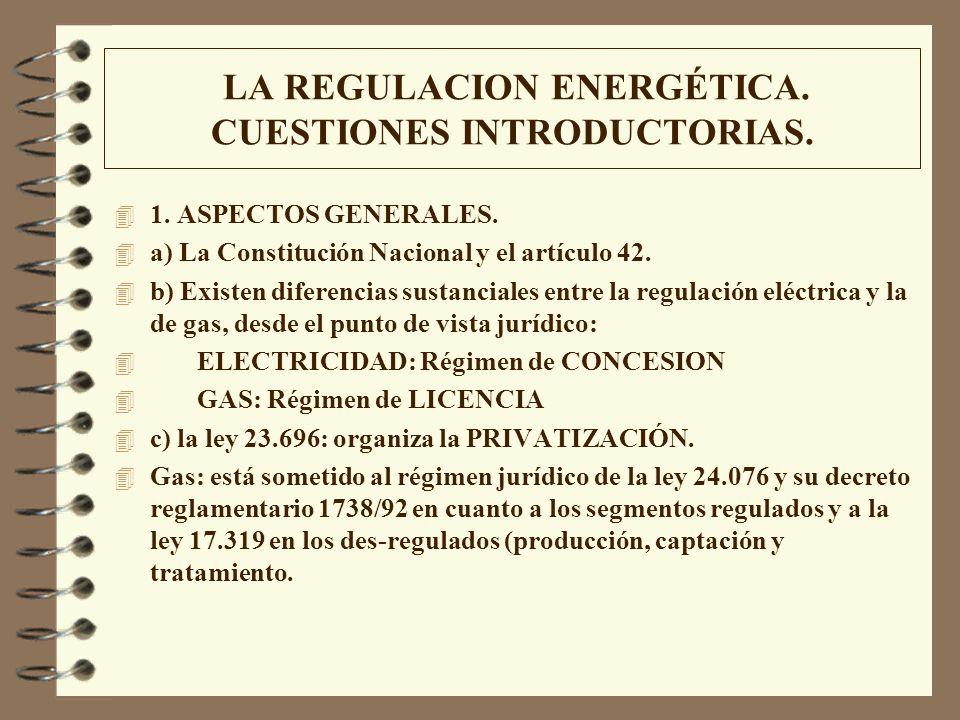 LA REGULACION ENERGÉTICA. CUESTIONES INTRODUCTORIAS. 4 1. ASPECTOS GENERALES. 4 a) La Constitución Nacional y el artículo 42. 4 b) Existen diferencias