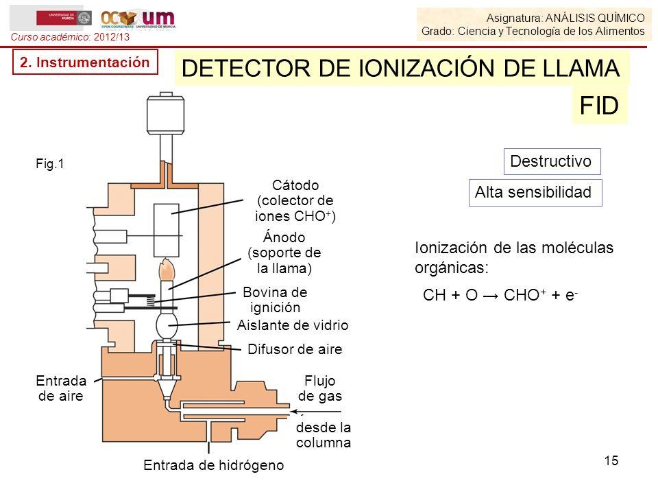 Asignatura: ANÁLISIS QUÍMICO Grado: Ciencia y Tecnología de los Alimentos Curso académico: 2012/13 2. Instrumentación DETECTOR DE IONIZACIÓN DE LLAMA