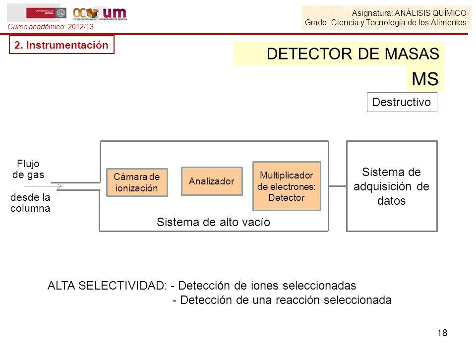 Asignatura: ANÁLISIS QUÍMICO Grado: Ciencia y Tecnología de los Alimentos Curso académico: 2012/13 2. Instrumentación DETECTOR DE MASAS MS Flujo de ga