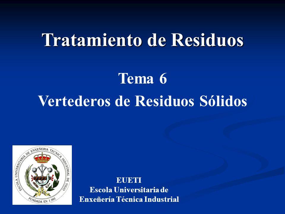 Tratamiento de Residuos EUETI Escola Universitaria de Enxeñería Técnica Industrial Tema 6 Vertederos de Residuos Sólidos