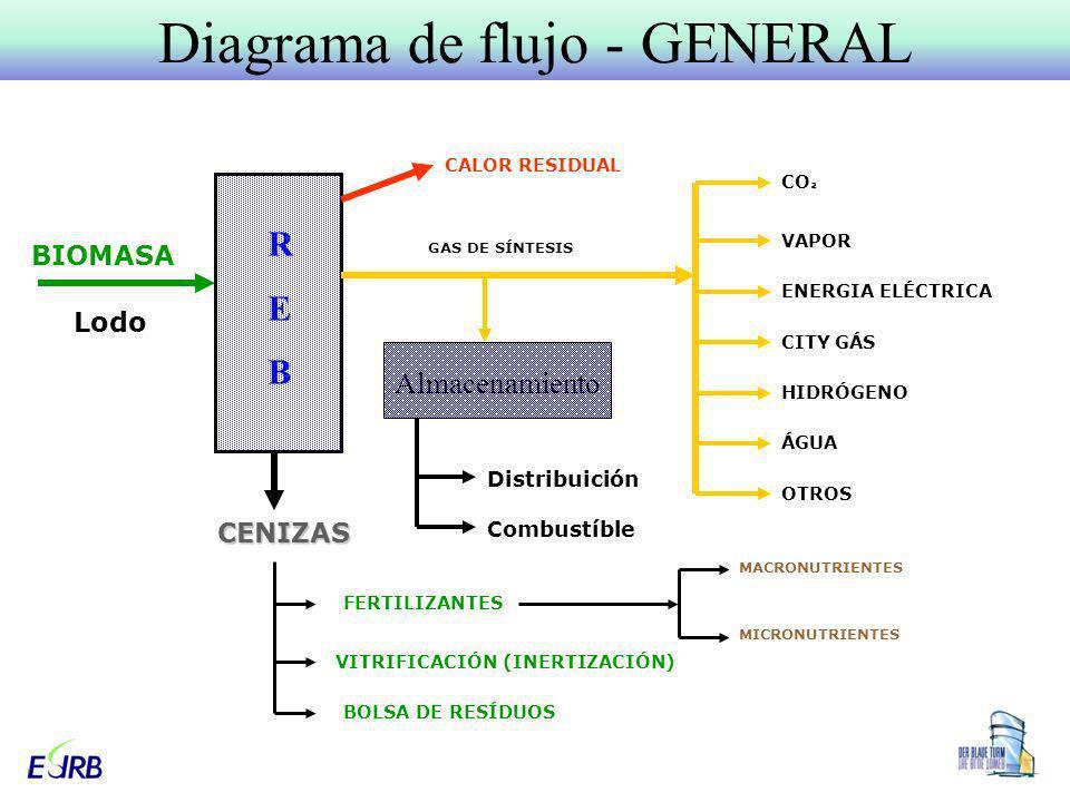 Diagrama de flujo - GENERALCENIZAS BIOMASA Lodo CALOR RESIDUAL GAS DE SÍNTESIS CO ² VAPOR ENERGIA ELÉCTRICA CITY GÁS HIDRÓGENO ÁGUA OTROS FERTILIZANTE