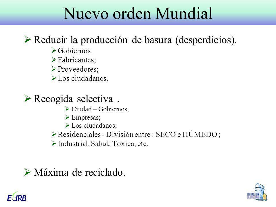 Reducir la producción de basura (desperdicios). Gobiernos; Fabricantes; Proveedores; Los ciudadanos. Recogida selectiva. Ciudad – Gobiernos; Empresas;
