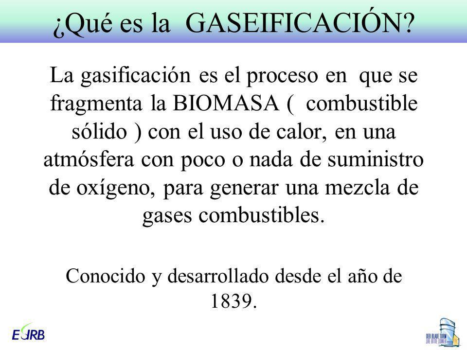 La gasificación es el proceso en que se fragmenta la BIOMASA ( combustible sólido ) con el uso de calor, en una atmósfera con poco o nada de suministr