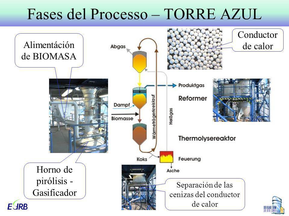 Fases del Processo – TORRE AZUL Conductor de calor Horno de pirólisis - Gasificador Alimentáción de BIOMASA Separación de las cenizas del conductor de
