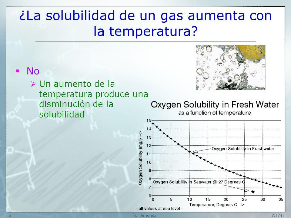 W[74] © L.Jiménez6 ¿La solubilidad de un gas aumenta con la temperatura.