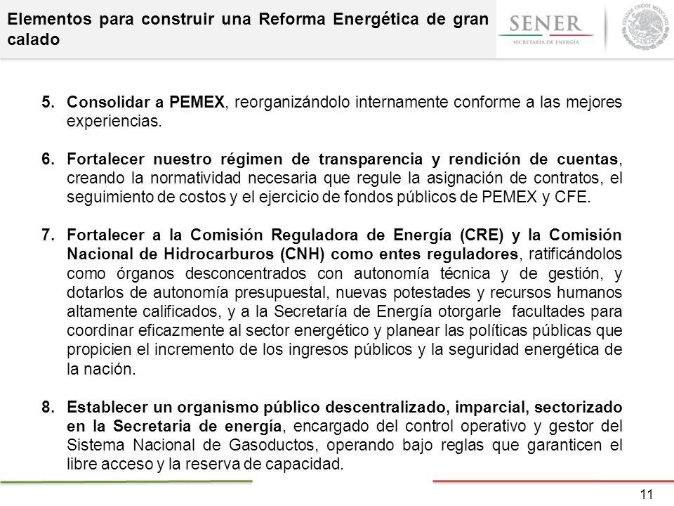 Elementos para construir una Reforma Energética de gran calado 5.Consolidar a PEMEX, reorganizándolo internamente conforme a las mejores experiencias.