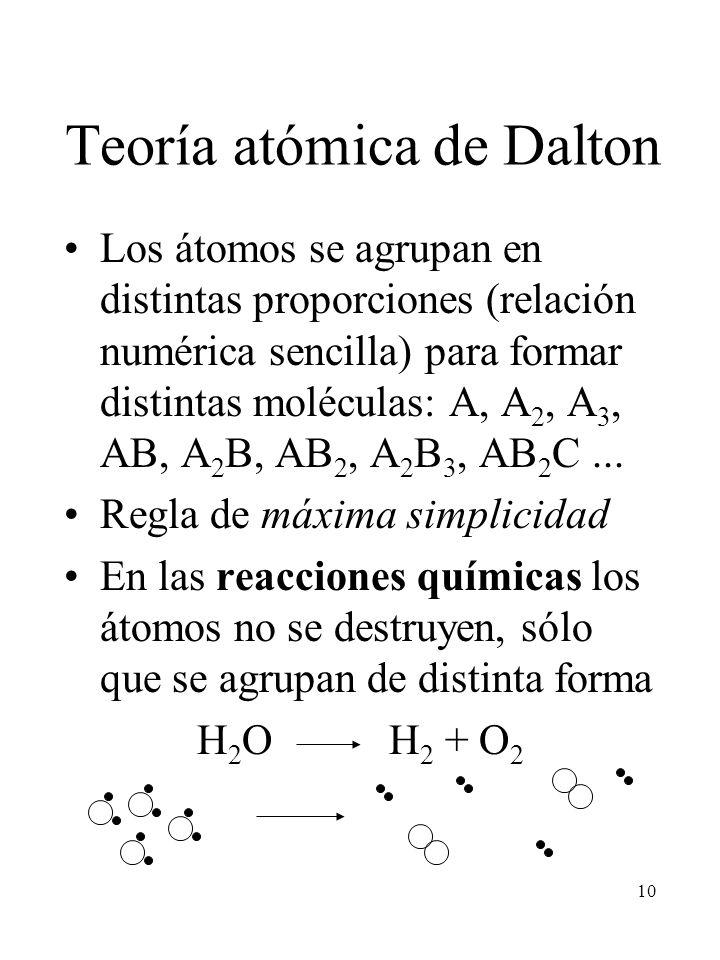 10 Teoría atómica de Dalton Los átomos se agrupan en distintas proporciones (relación numérica sencilla) para formar distintas moléculas: A, A 2, A 3,