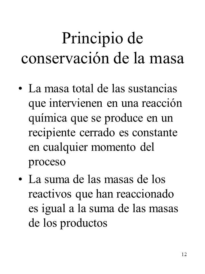 12 Principio de conservación de la masa La masa total de las sustancias que intervienen en una reacción química que se produce en un recipiente cerrad