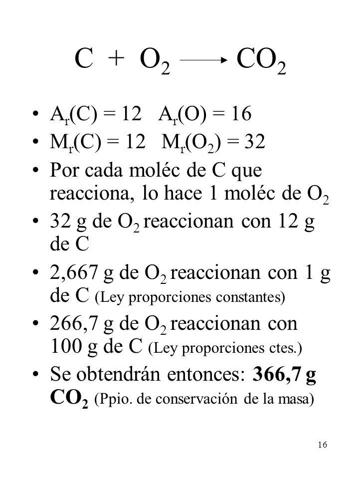 16 C + O 2 CO 2 A r (C) = 12 A r (O) = 16 M r (C) = 12 M r (O 2 ) = 32 Por cada moléc de C que reacciona, lo hace 1 moléc de O 2 32 g de O 2 reacciona