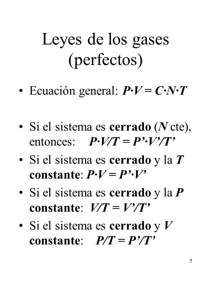 5 Leyes de los gases (perfectos) Ecuación general: P·V = C·N·T Si el sistema es cerrado (N cte), entonces: P·V/T = P·V/T Si el sistema es cerrado y la
