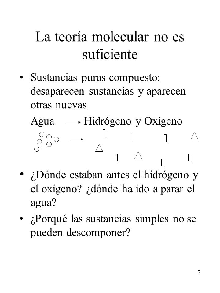 7 La teoría molecular no es suficiente Sustancias puras compuesto: desaparecen sustancias y aparecen otras nuevas Agua Hidrógeno y Oxígeno ¿ Dónde est