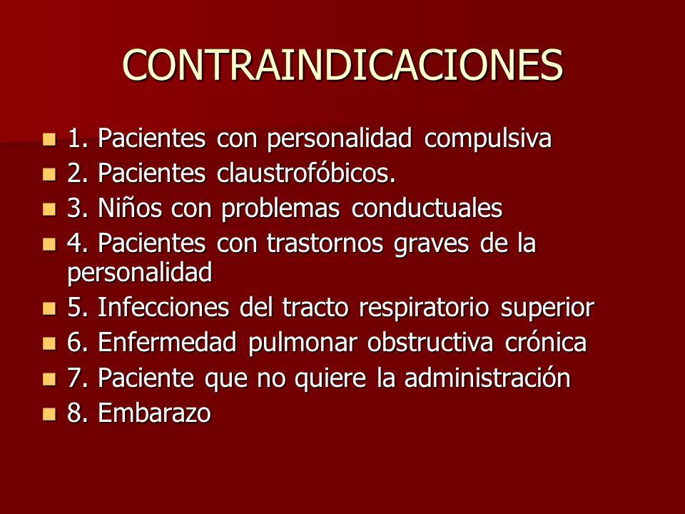 CONTRAINDICACIONES 1. Pacientes con personalidad compulsiva 1. Pacientes con personalidad compulsiva 2. Pacientes claustrofóbicos. 2. Pacientes claust