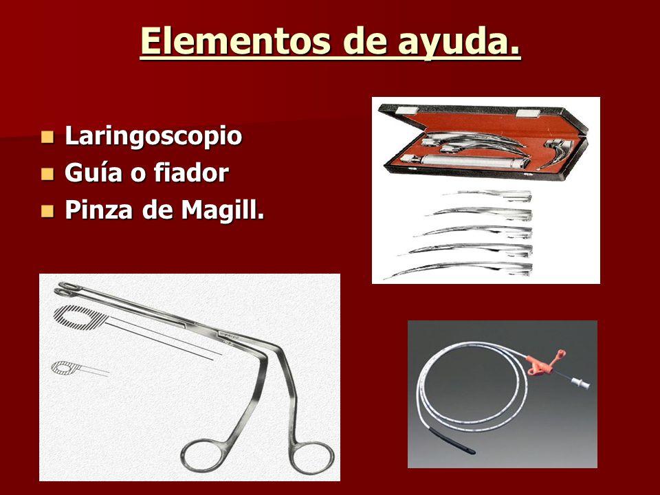 Elementos de ayuda. Laringoscopio Laringoscopio Guía o fiador Guía o fiador Pinza de Magill. Pinza de Magill.