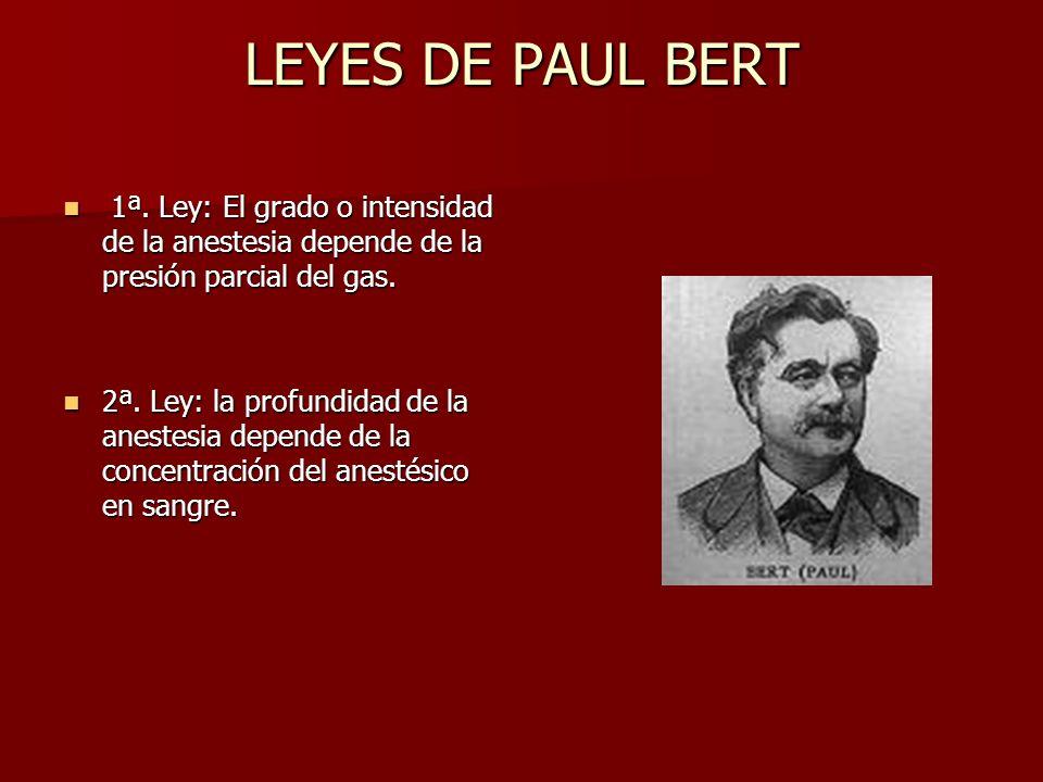 LEYES DE PAUL BERT 1ª. Ley: El grado o intensidad de la anestesia depende de la presión parcial del gas. 1ª. Ley: El grado o intensidad de la anestesi