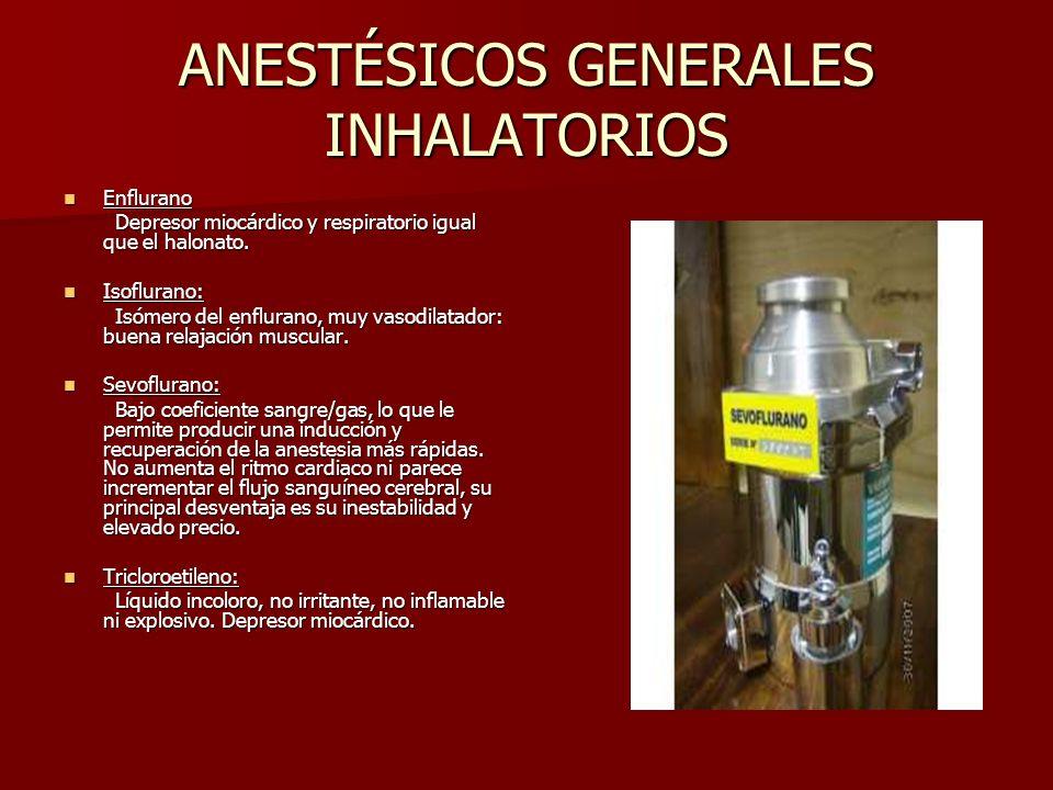 ANESTÉSICOS GENERALES INHALATORIOS Enflurano Enflurano Depresor miocárdico y respiratorio igual que el halonato. Depresor miocárdico y respiratorio ig