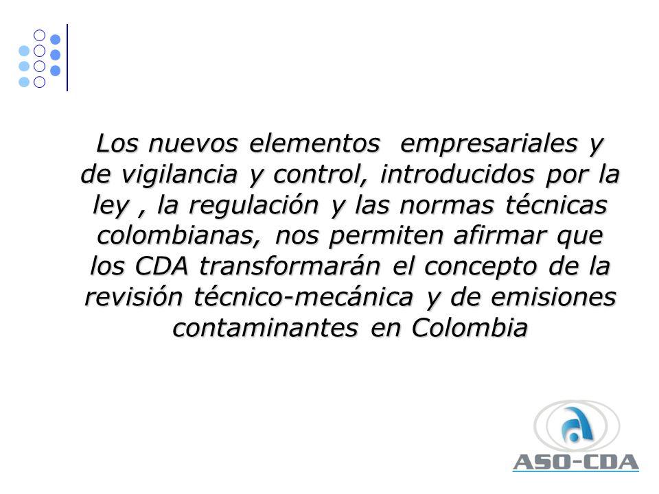 Los nuevos elementos empresariales y de vigilancia y control, introducidos por la ley, la regulación y las normas técnicas colombianas, nos permiten a