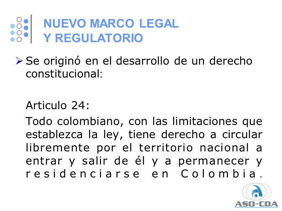 NUEVO MARCO LEGAL Y REGULATORIO Se originó en el desarrollo de un derecho constitucional : Articulo 24: Todo colombiano, con las limitaciones que esta