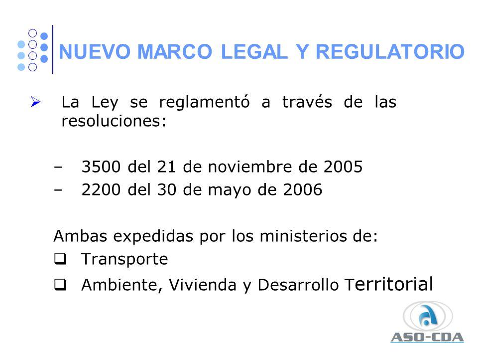 NUEVO MARCO LEGAL Y REGULATORIO La Ley se reglamentó a través de las resoluciones: –3500 del 21 de noviembre de 2005 –2200 del 30 de mayo de 2006 Amba