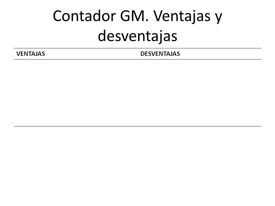 Contador GM. Ventajas y desventajas VENTAJASDESVENTAJAS