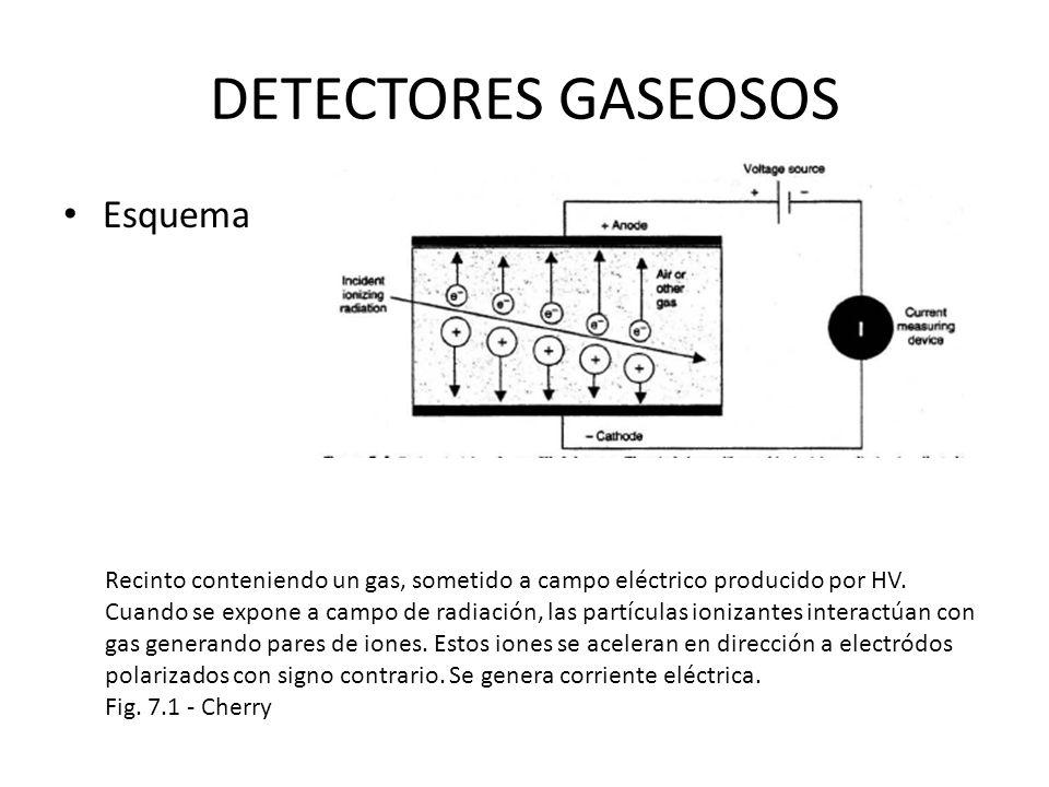 DETECTORES GASEOSOS Esquema Recinto conteniendo un gas, sometido a campo eléctrico producido por HV. Cuando se expone a campo de radiación, las partíc