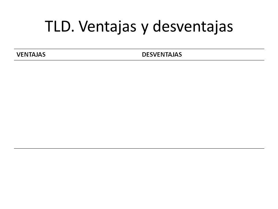 TLD. Ventajas y desventajas VENTAJASDESVENTAJAS