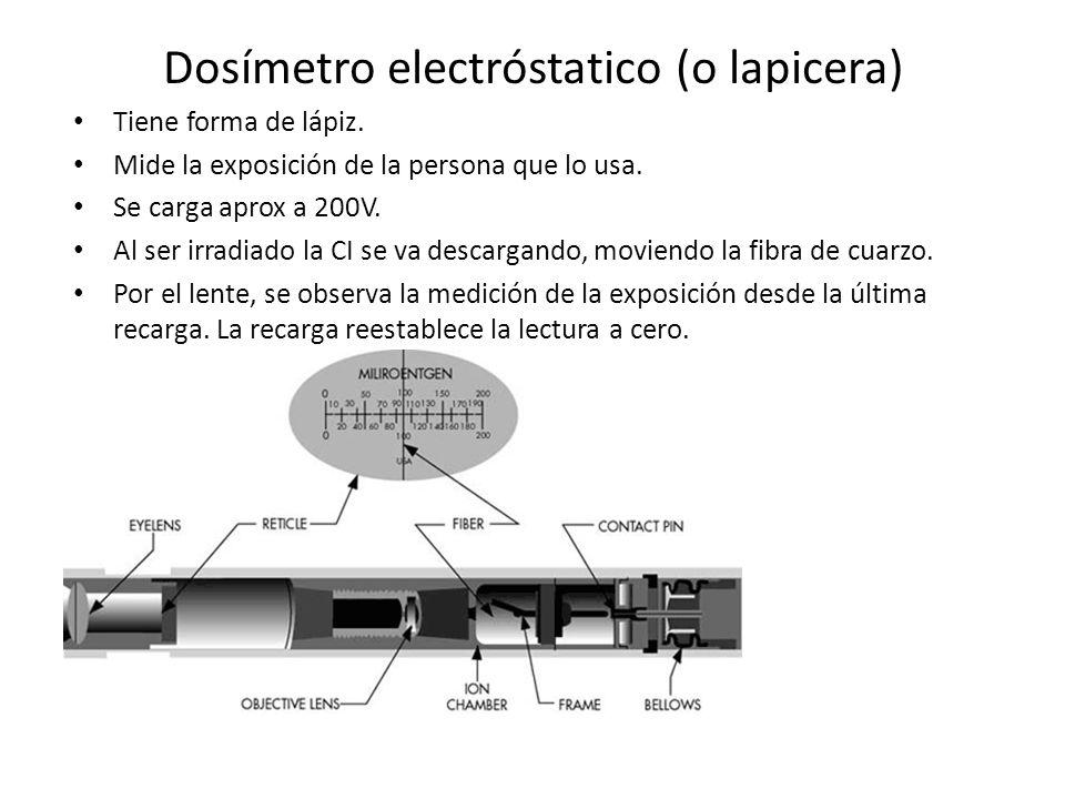 Dosímetro electróstatico (o lapicera) Tiene forma de lápiz. Mide la exposición de la persona que lo usa. Se carga aprox a 200V. Al ser irradiado la CI