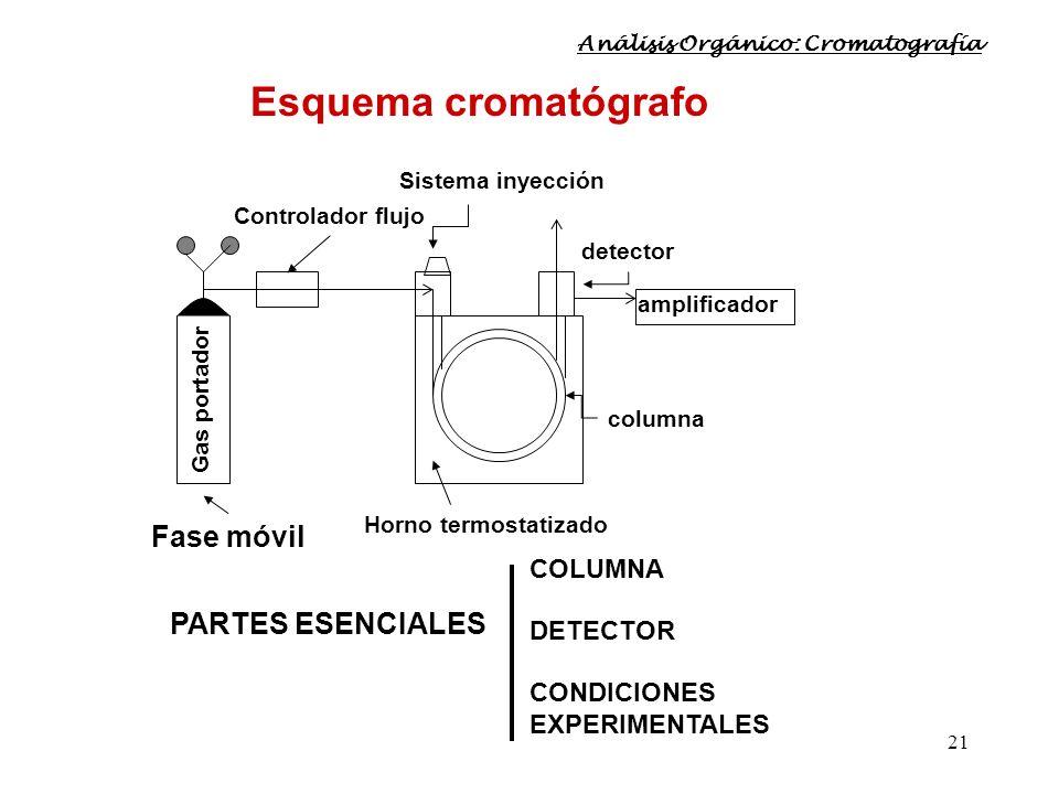 21 Controlador flujo Gas portador detector columna Horno termostatizado Sistema inyección Esquema cromatógrafo Fase móvil amplificador PARTES ESENCIAL