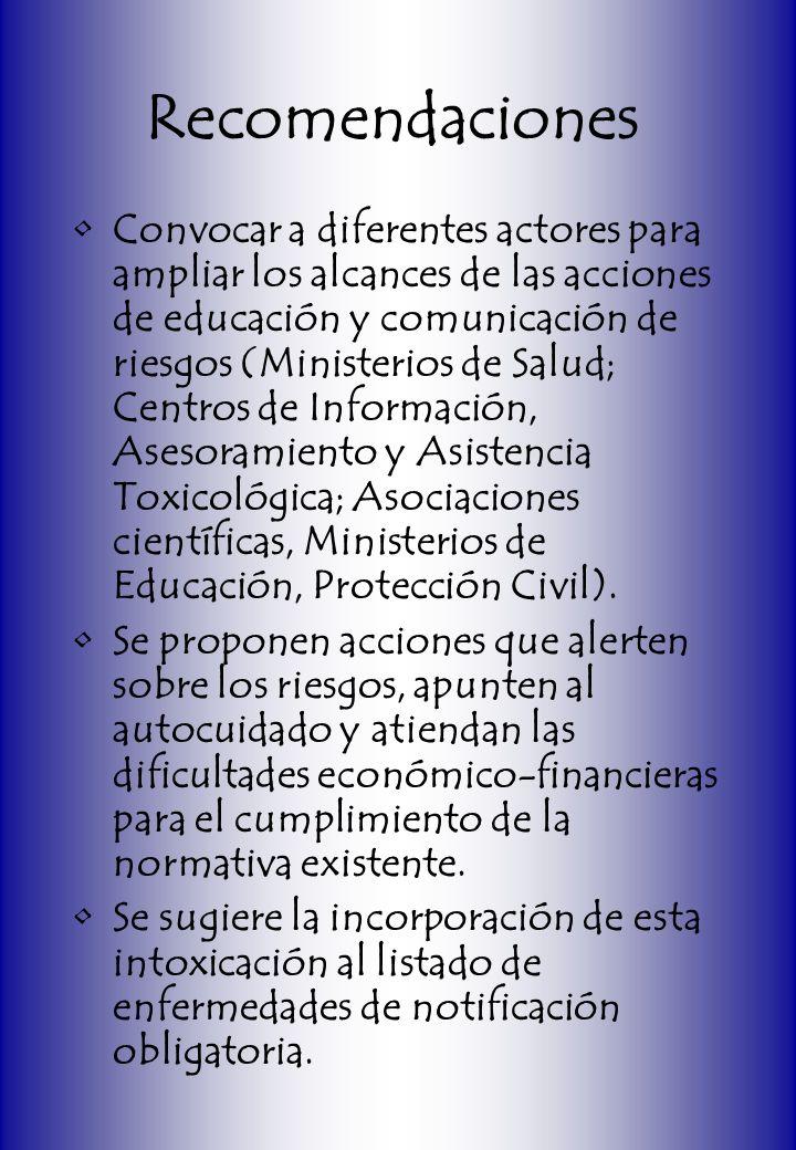 Recomendaciones Convocar a diferentes actores para ampliar los alcances de las acciones de educación y comunicación de riesgos (Ministerios de Salud;