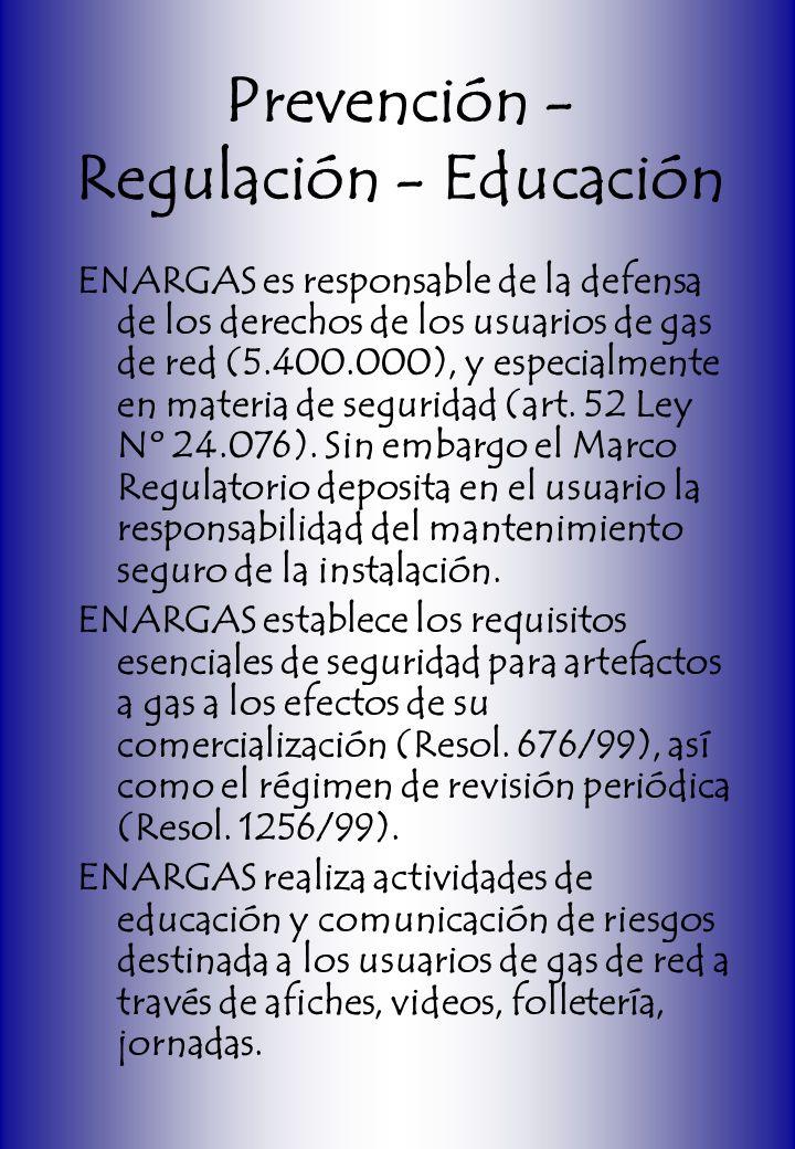 Prevención - Regulación - Educación ENARGAS es responsable de la defensa de los derechos de los usuarios de gas de red (5.400.000), y especialmente en