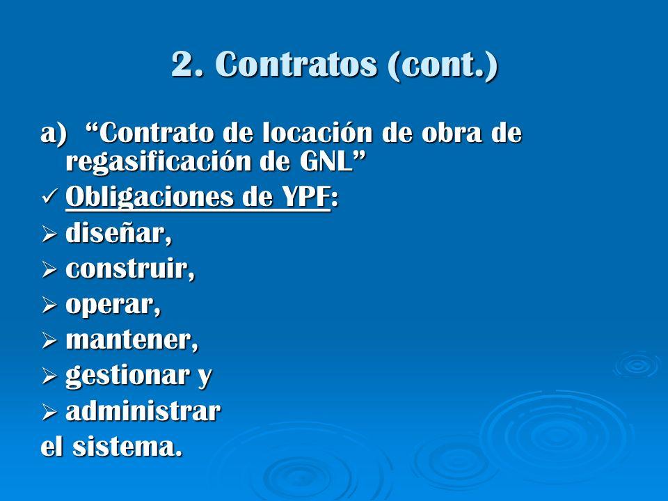 2. Contratos (cont.) a) Contrato de locación de obra de regasificación de GNL Obligaciones de YPF: Obligaciones de YPF: diseñar, diseñar, construir, c