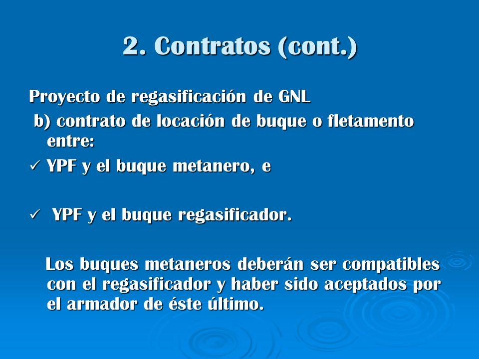 2. Contratos (cont.) Proyecto de regasificación de GNL b) contrato de locación de buque o fletamento entre: b) contrato de locación de buque o fletame