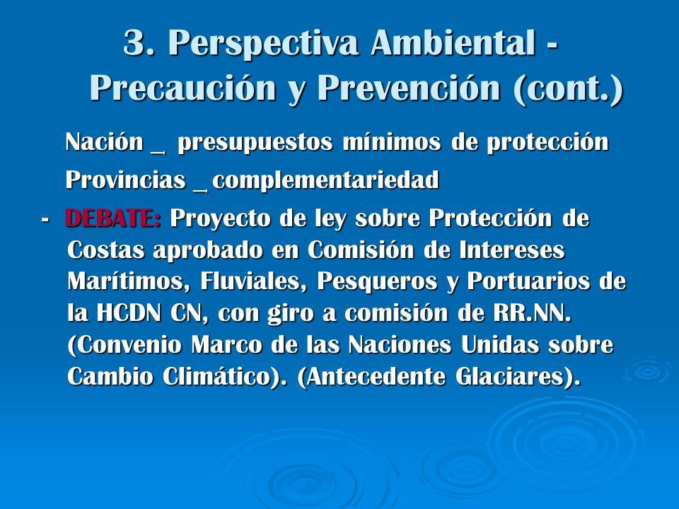 3. Perspectiva Ambiental - Precaución y Prevención (cont.) Nación ͢ presupuestos mínimos de protección Nación ͢ presupuestos mínimos de protección Pro