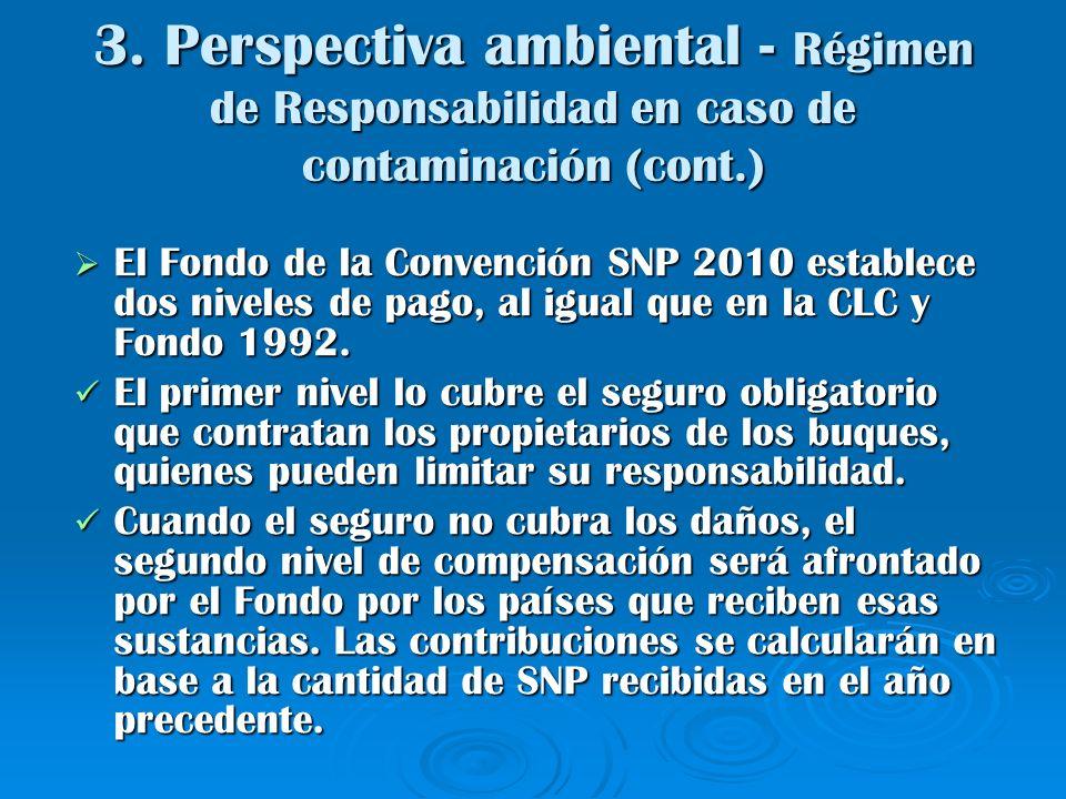 3. Perspectiva ambiental - Régimen de Responsabilidad en caso de contaminación (cont.) El Fondo de la Convención SNP 2010 establece dos niveles de pag