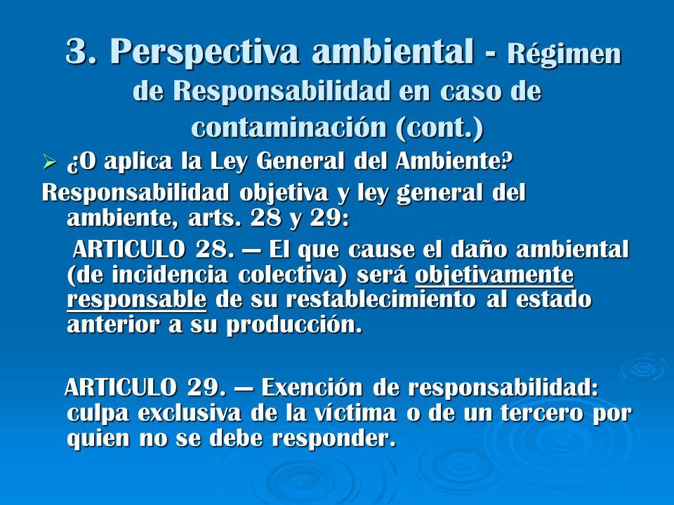 3. Perspectiva ambiental - Régimen de Responsabilidad en caso de contaminación (cont.) 3. Perspectiva ambiental - Régimen de Responsabilidad en caso d