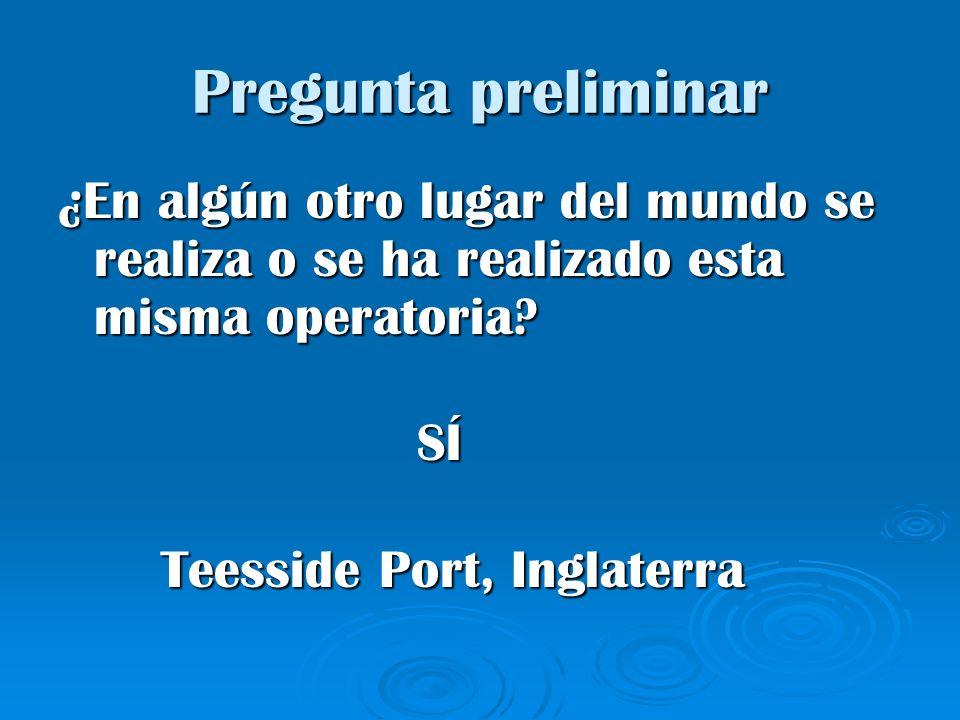 Pregunta preliminar ¿En algún otro lugar del mundo se realiza o se ha realizado esta misma operatoria? SÍ SÍ Teesside Port, Inglaterra Teesside Port,