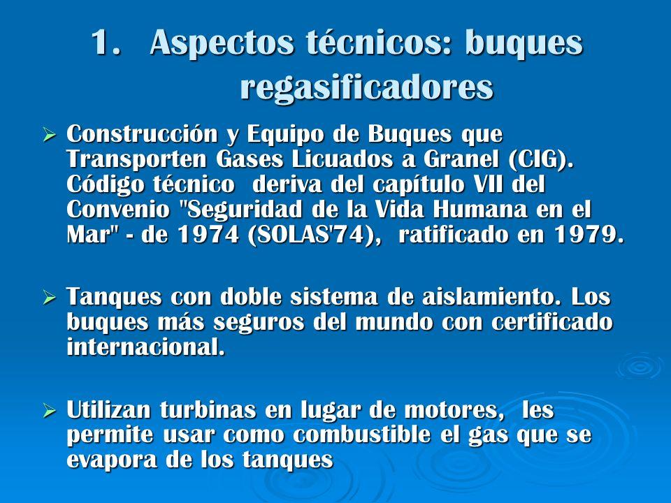 1.Aspectos técnicos: buques regasificadores Construcción y Equipo de Buques que Transporten Gases Licuados a Granel (CIG). Código técnico deriva del c