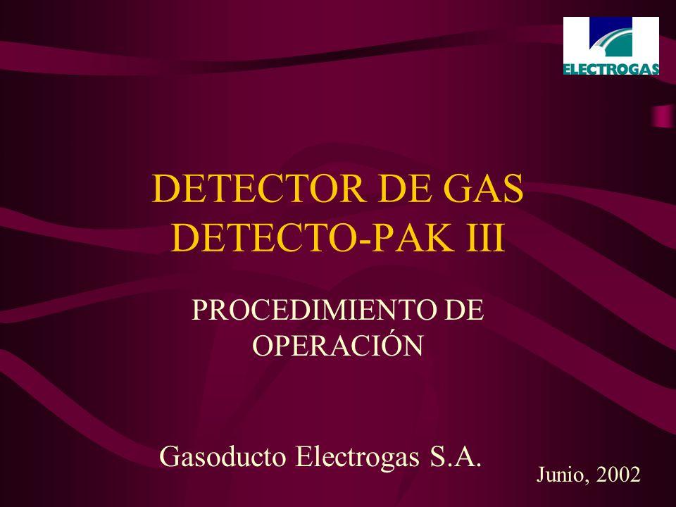 DETECTOR DE GAS DETECTO-PAK III PROCEDIMIENTO DE OPERACIÓN Gasoducto Electrogas S.A. Junio, 2002