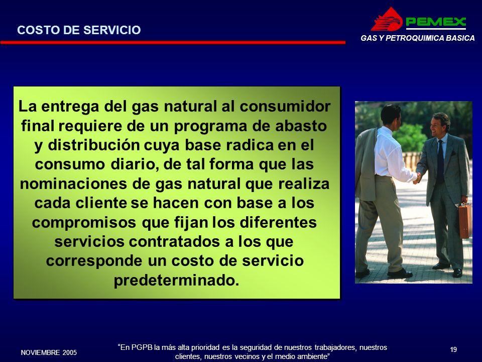 En PGPB la más alta prioridad es la seguridad de nuestros trabajadores, nuestros clientes, nuestros vecinos y el medio ambiente NOVIEMBRE 2005 19 GAS