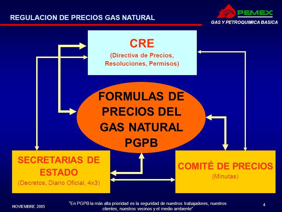 En PGPB la más alta prioridad es la seguridad de nuestros trabajadores, nuestros clientes, nuestros vecinos y el medio ambiente NOVIEMBRE 2005 4 GAS Y