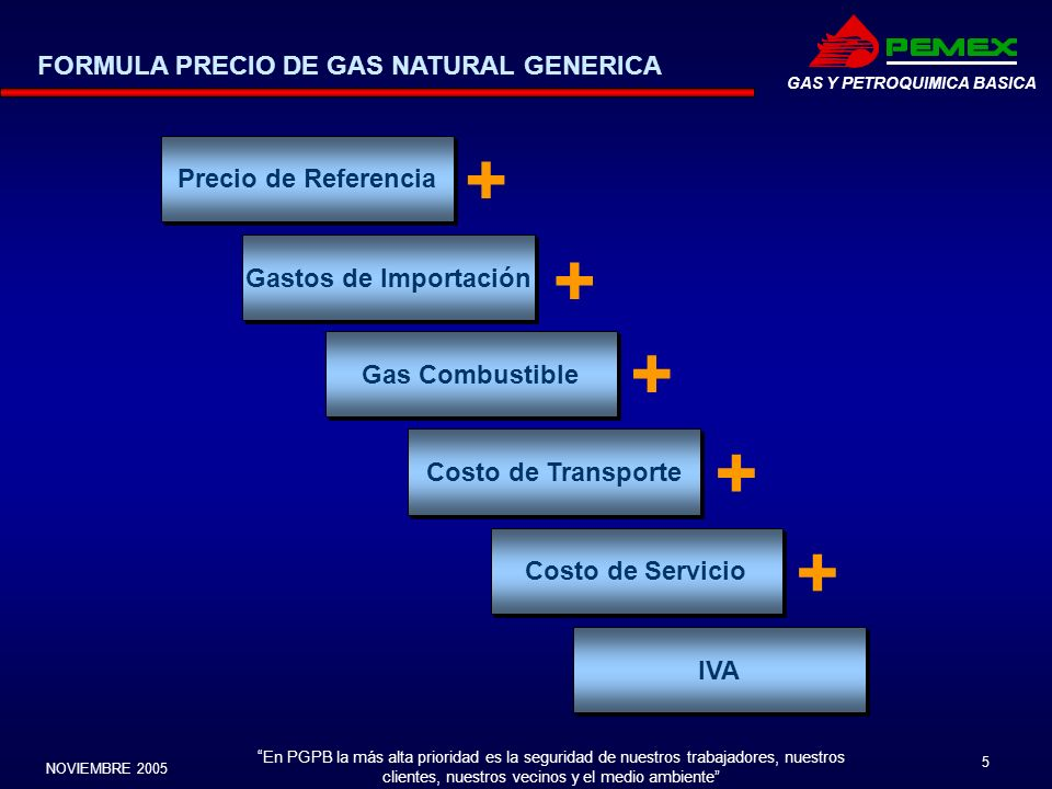 En PGPB la más alta prioridad es la seguridad de nuestros trabajadores, nuestros clientes, nuestros vecinos y el medio ambiente NOVIEMBRE 2005 5 GAS Y