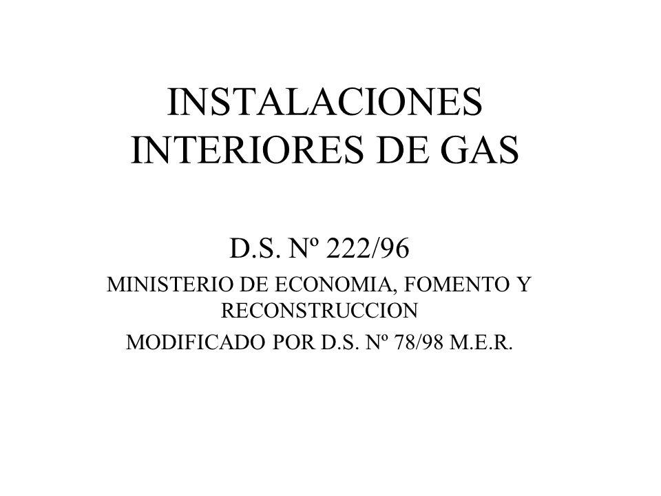INSTALACIONES INTERIORES DE GAS D.S. Nº 222/96 MINISTERIO DE ECONOMIA, FOMENTO Y RECONSTRUCCION MODIFICADO POR D.S. Nº 78/98 M.E.R.
