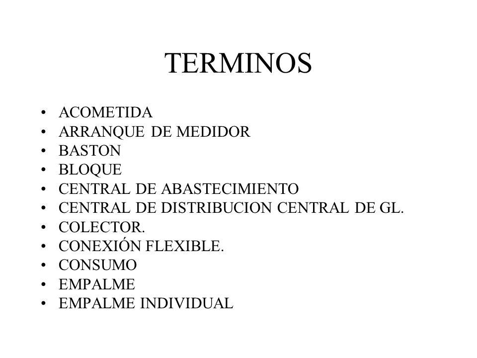 TERMINOS ACOMETIDA ARRANQUE DE MEDIDOR BASTON BLOQUE CENTRAL DE ABASTECIMIENTO CENTRAL DE DISTRIBUCION CENTRAL DE GL. COLECTOR. CONEXIÓN FLEXIBLE. CON