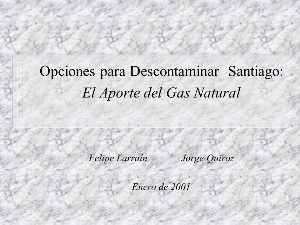 Opciones para Descontaminar Santiago: El Aporte del Gas Natural Felipe Larraín Jorge Quiroz Enero de 2001