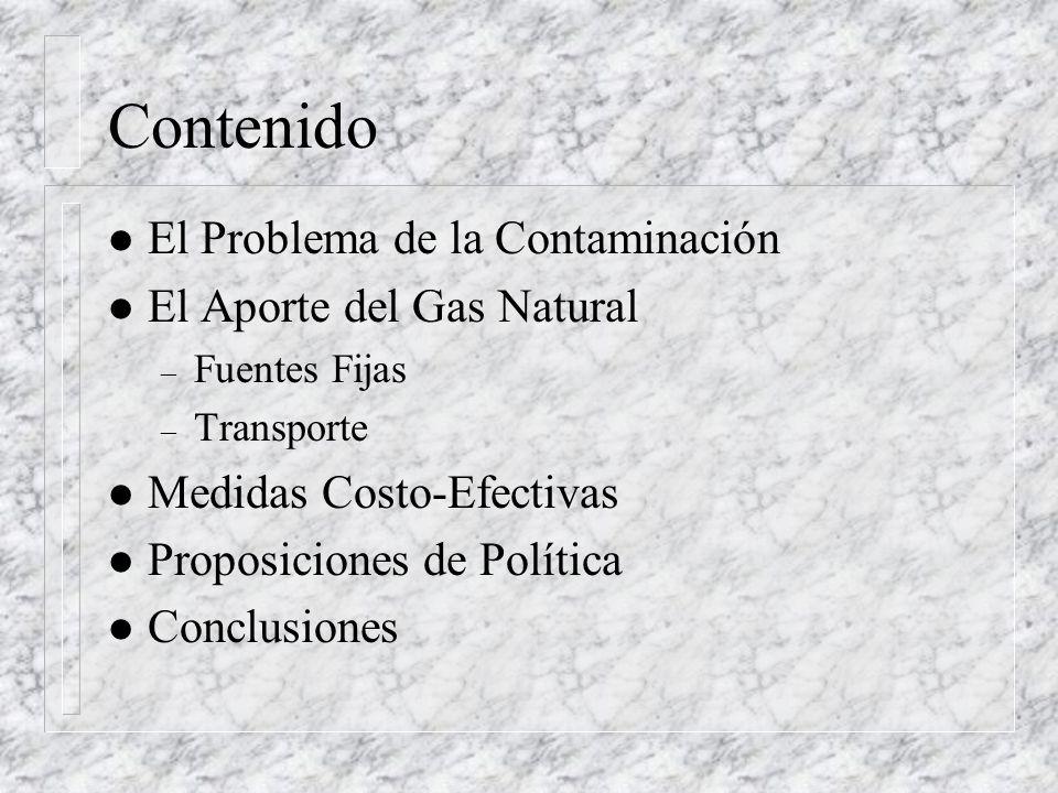 Contenido l El Problema de la Contaminación l El Aporte del Gas Natural – Fuentes Fijas – Transporte l Medidas Costo-Efectivas l Proposiciones de Política l Conclusiones