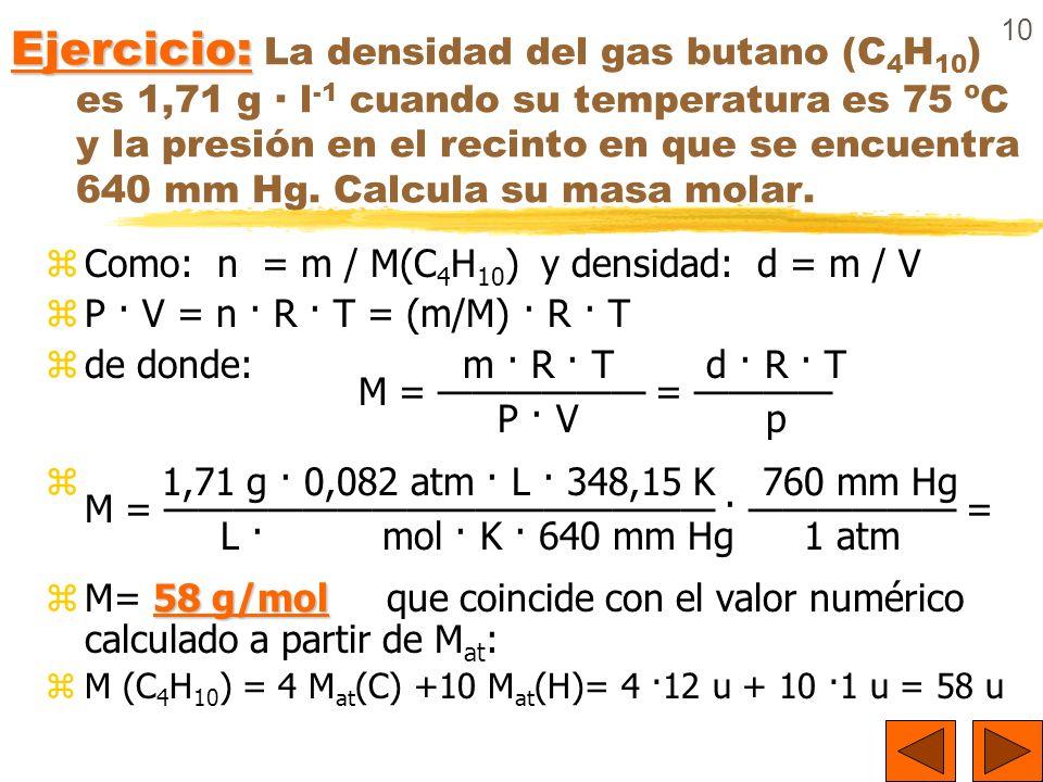 10 Ejercicio: Ejercicio: La densidad del gas butano (C 4 H 10 ) es 1,71 g · l -1 cuando su temperatura es 75 ºC y la presión en el recinto en que se e
