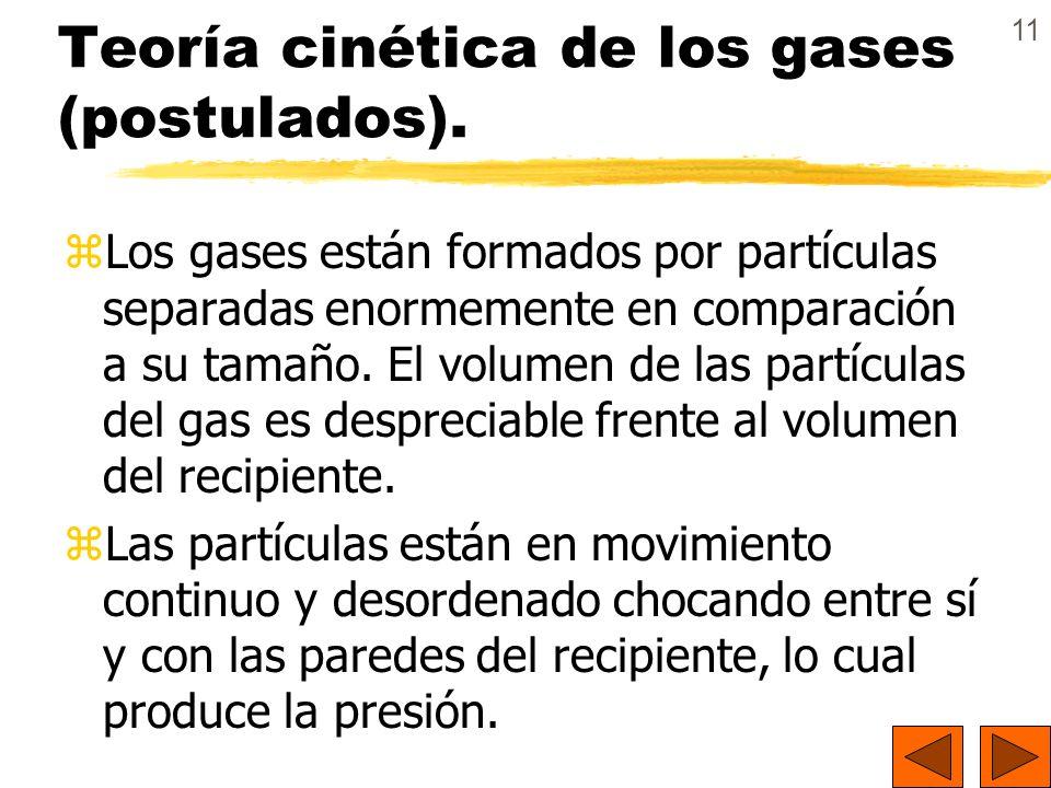 11 Teoría cinética de los gases (postulados). zLos gases están formados por partículas separadas enormemente en comparación a su tamaño. El volumen de